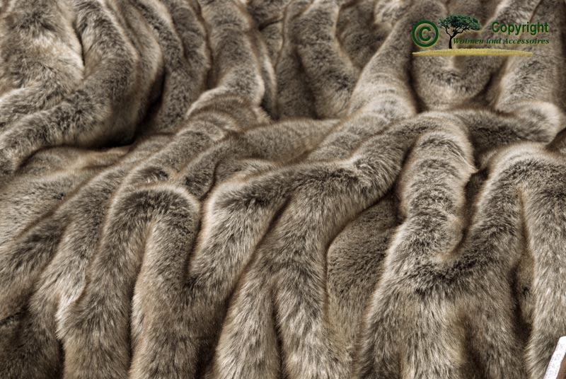 Pelaje manta webpelzdecke lobo gris marr n 170x220cm ebay for Wohnen und accessoires