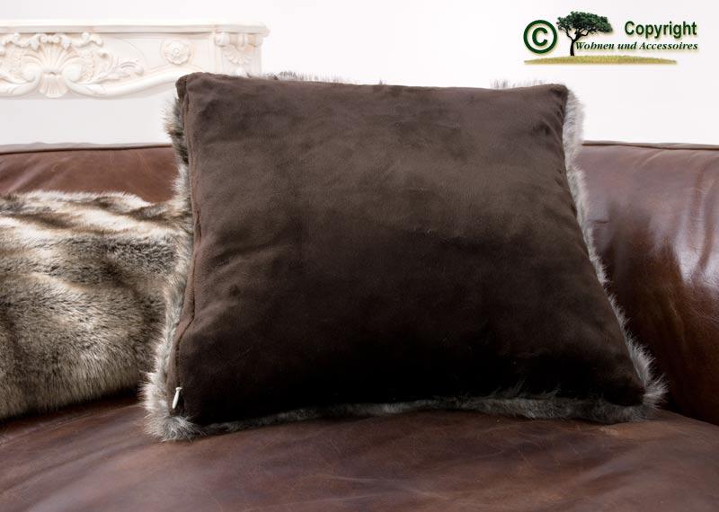 fellkissen webpelzkissen wolf grau braun 45x45cm ebay. Black Bedroom Furniture Sets. Home Design Ideas