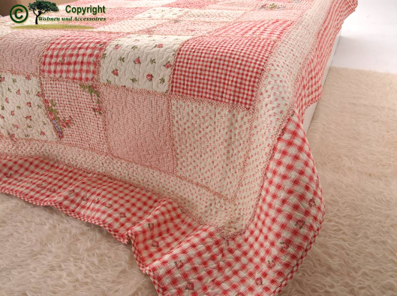 Tagesdecke bett berwurf quilt patchwork rot 300x260 ebay for Accessoires wohnen
