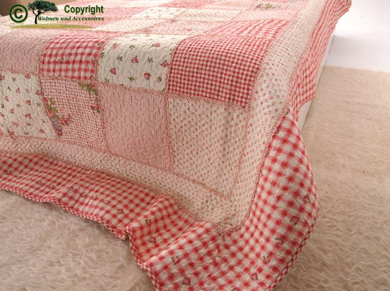 tagesdecke bett berwurf quilt patchwork rot 300x260 ebay. Black Bedroom Furniture Sets. Home Design Ideas