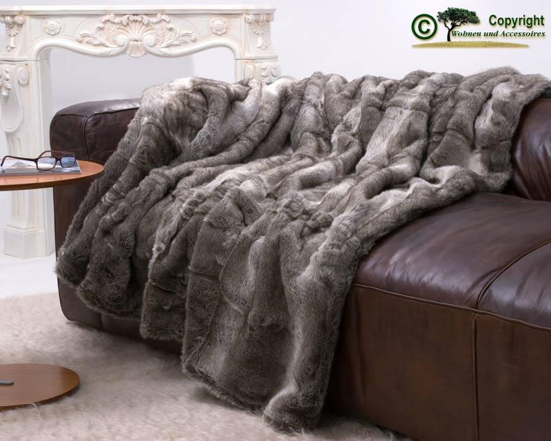 felldecke webpelzdecke fellimitat decke grauer b r grau melange 150x200cm ebay. Black Bedroom Furniture Sets. Home Design Ideas
