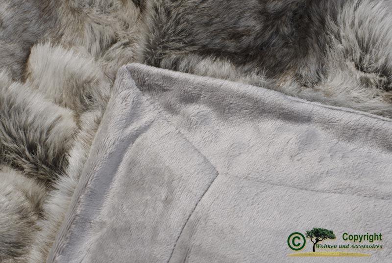 gro e felldecke pelzplaid webpelzdecke grauer b r grau melange 170x220cm ebay. Black Bedroom Furniture Sets. Home Design Ideas