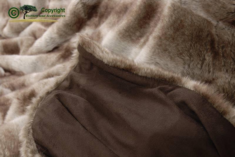 felldecke webpelzdecke plaid wolf ii 150x200 braun grau ebay. Black Bedroom Furniture Sets. Home Design Ideas