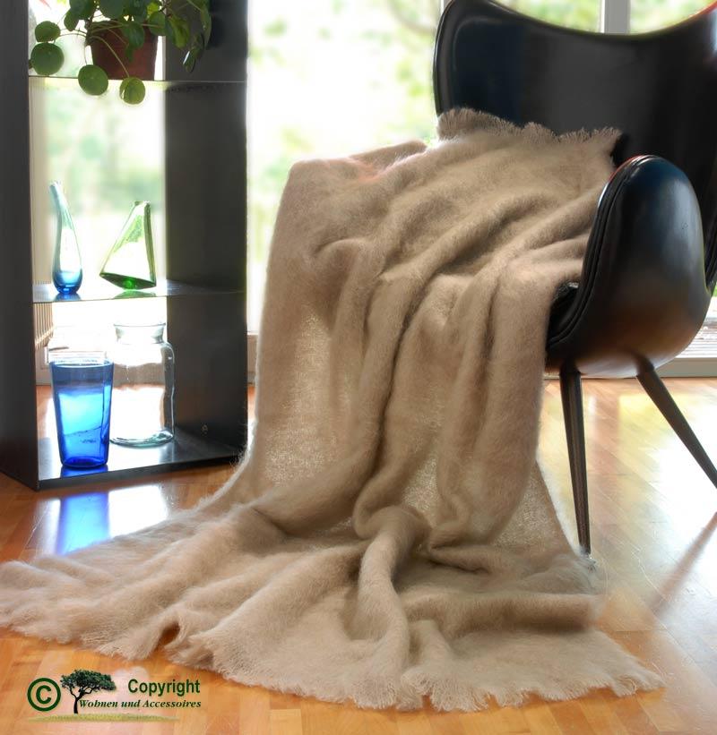 Luxus mohair wolldecke mohairplaid mohairdecke beige for Wohnen und accessoires