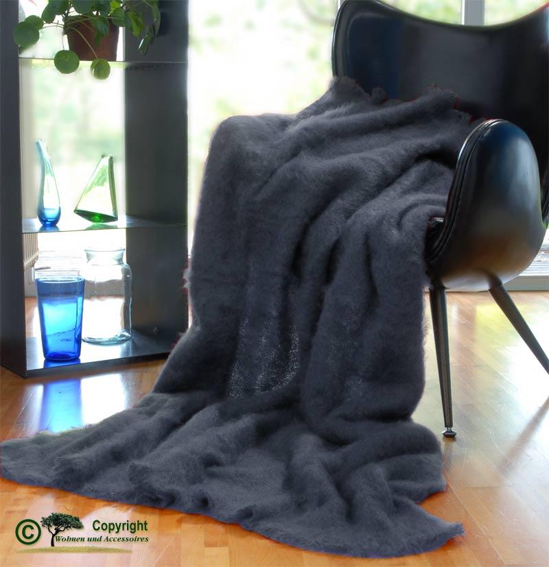 Luxus mohair wolldecke mohairplaid mohairdecke graublau ebay for Wohnen und accessoires