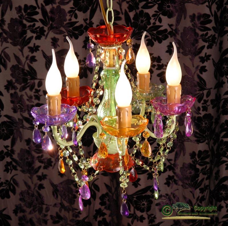 bel lampadario a sospensione in colorato 5 braccia ferro. Black Bedroom Furniture Sets. Home Design Ideas