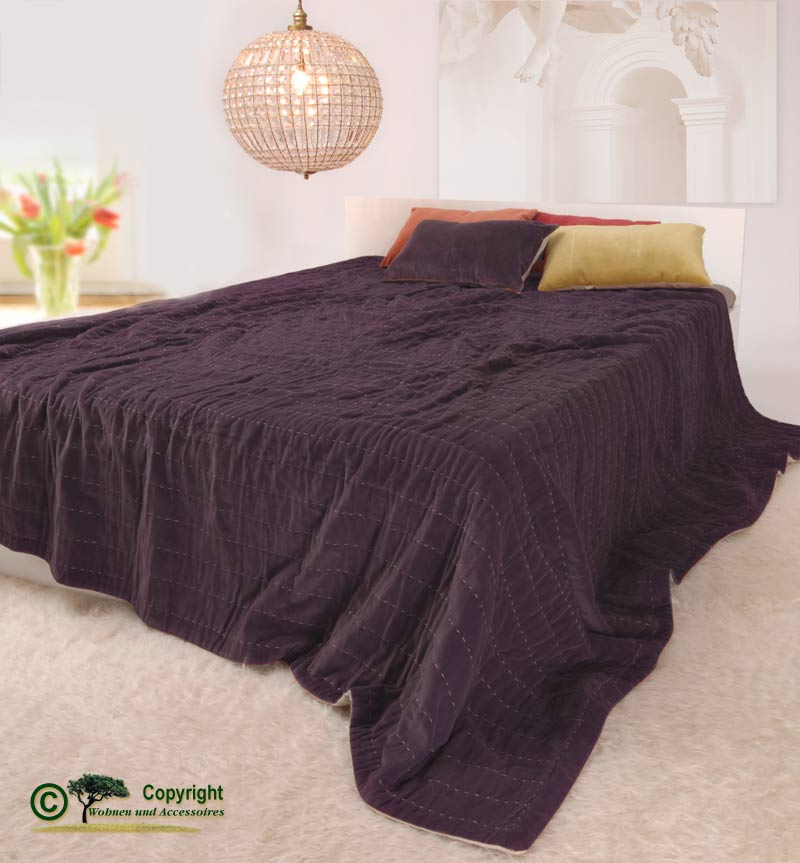 edle tagesdecke samtdecke decke samt baumwollsamt 100 baumwolle violett 220 ebay. Black Bedroom Furniture Sets. Home Design Ideas