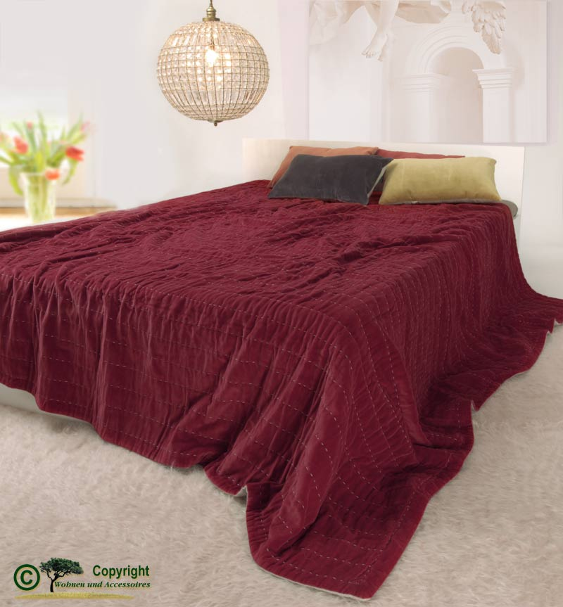 edle tagesdecke 240x260 samtdecke rot decke samt baumwollsamt 100 baumwolle ebay. Black Bedroom Furniture Sets. Home Design Ideas