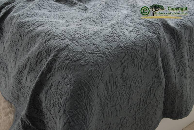 franz sische tagesdecke bett berwurf lune grau 240 ebay. Black Bedroom Furniture Sets. Home Design Ideas