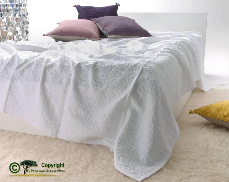 franz sische tagesdecke bett berwurf lune rein wei 240 ebay. Black Bedroom Furniture Sets. Home Design Ideas
