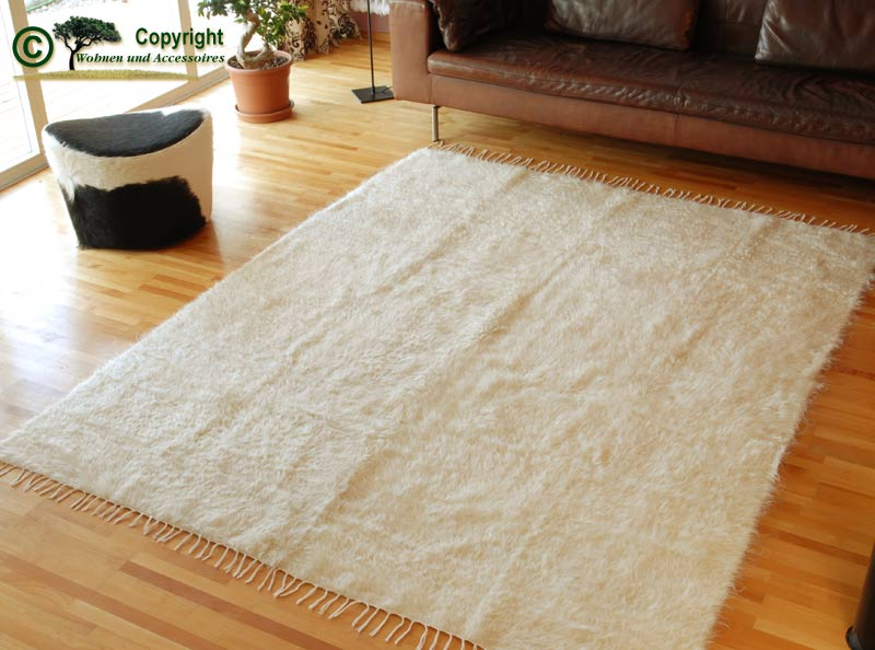 Ziegenhaarteppich Teppich Mohair Ziegenhaar weiß 240  eBay