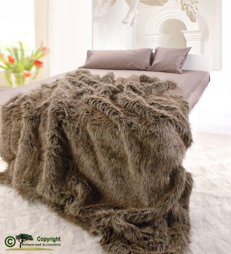 h bsche felldecke pelzplaid webpelzdecke grizzly b r ii ebay. Black Bedroom Furniture Sets. Home Design Ideas