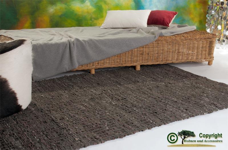 Cuir tapis webteppich patchwork cuir tapis marron 120x180cm ebay - Tapis cuir patchwork ...