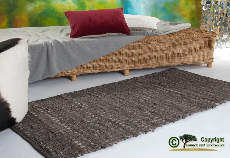 lederteppich webteppich flickenteppich fleckerlteppich braun 70x140cm ebay. Black Bedroom Furniture Sets. Home Design Ideas
