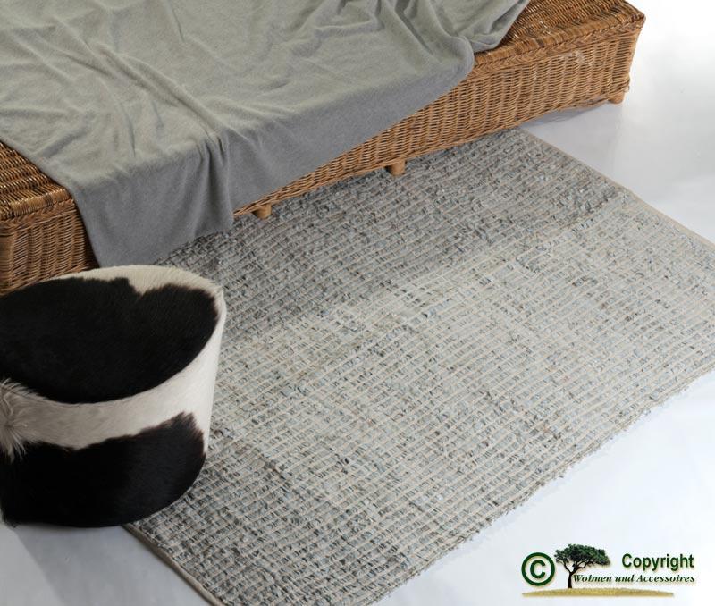 lederteppich webteppich flickenteppich leder teppich grau 120x180cm ebay. Black Bedroom Furniture Sets. Home Design Ideas