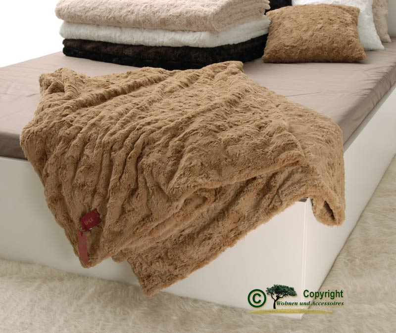 Pelzdecke felldecke webpelzdecke teddyfell farbe kamel ebay for Wohnen und accessoires